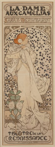 Fine Art - Work on Paper:Print, Alphonse Mucha (Czechoslovakian, 1860-1939). La Dame auxCamelias, 1896. Lithograph in colors on paper. 80-1/2 x 29inch...