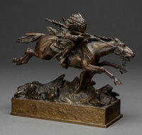 After Carl Kauba (Austrian, 1865-1922) Plains Indian on horseback Bronze with brown patina 8-1/4