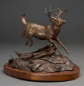Fine Art - Sculpture, American, Clark Everice Bronson (American, b. 1939). Into the Woods,1974. Bronze with brown patina. 12 inches (30.5 cm) high on a...