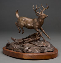 Clark Everice Bronson (American, b. 1939) Into the Woods, 1974 Bronze with brown patina 12 inches