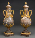 Decorative Arts, French:Other , A Pair of Napoleon III Gilt Bronze and Marble Covered Casolets,circa 1870. 22-1/4 h x 7 w x 6-1/2 d inches (56.5 x 17.8 x 1...(Total: 2 Items)