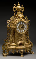 Clocks & Mechanical:Clocks, A Lancini Italian Gilt Bronze Mantel Clock. Marks: LANCINI, MADE IN ITALY. 22-3/4 inches high x 14-1/2 inches wide x 6-1...