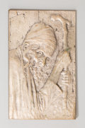 Decorative Arts, Continental:Other , A Small Judaica Silvered Bronze Relief Plaque: Devout Man at theWailing Wall. Marks: (indistinct signature to lower...