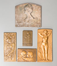 Five Art Nouveau Bronze and Silver Plaques, late 19th-early 20th century Marks: (various) 3-1/4 inches high x 3