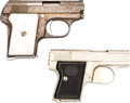 Handguns:Semiautomatic Pistol, Lot of Two Engraved Semi-Automatic Pistols.... (Total: 2 Items)