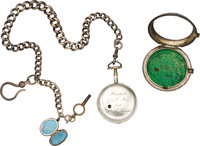 Silver English Pocket Watch Given to John C. Hays by S. M. Swenson, 1840