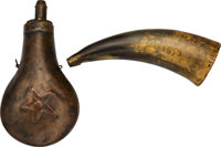 A Texas Related Powder Horn and Powder Flask