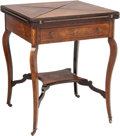 Furniture : French, A French Walnut and Fruitwood Marquetry Handkerchief Folding Table,circa 1870. 29 h x 23 w x 23 d inches (73.7 x 58.4 x 58....