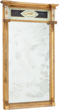 Furniture , An English Neoclassical Giltwood and Eglomisé Mirror, early 19th century. 52-1/4 h x 30 w x 4-1/4 d inches (132.7 x 76.2 x 1...