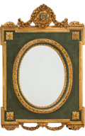 Furniture : French, A Large Louis XVI-Style Carved, Painted, and Giltwood Mirror. 60inches high x 39-1/2 inches wide (152.4 x 100.3 cm). ...
