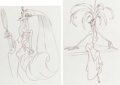 Animation Art:Concept Art, The Emperor's New Groove Yzma Character Design DrawingsGroup of 2 (Walt Disney, 2000). ... (Total: 2 Items)