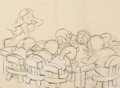 "Animation Art:Production Drawing, Snow White and the Seven Dwarfs ""Soup Scene"" Snow White Layout Drawing (Walt Disney, 1937). ..."