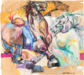 "Animation Art:Production Drawing, Walt Peregoy ""Arabian Horses"" Pastel Original Art (Walt Disney,1993). ..."