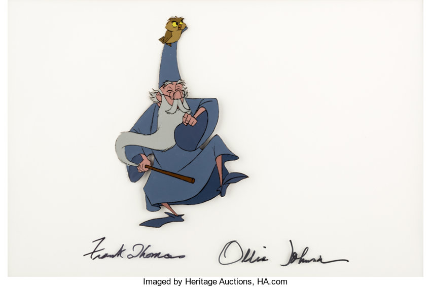 The Sword In The Stone Merlin And Archimedes Production Cel Signed