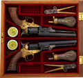 Handguns:Single Action Revolver, Cased Pair of Reproduction 1851 Style Single Action Percussion Revolvers by Uberti.... (Total: 2 Items)