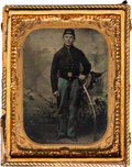 Photography:Tintypes, [Civil War]. Tintype of an Unidentified Soldier with a Sword....