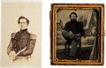 Photography:Tintypes, [Civil War]. Tintype and Engraving of Two Unidentified Soldiers.... (Total: 2 Items)