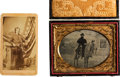 Photography:Daguerreotypes, [Civil War]. Tintype and Carte de Visite of Two Injured Soldiers.... (Total: 2 Items)