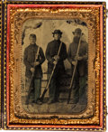 Photography:Tintypes, [Civil War]. Tintype of Three Unidentified Soldiers....