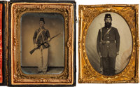 [Civil War]. Two Quarter Plate Tintypes of Soldiers