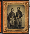 Photography:Tintypes, [Civil War]. Tintype of Two Unidentified Artillery Soldiers....