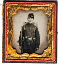 Photography:Ambrotypes, [Civil War]. Ambrotype of Unidentified Soldier with Pack....