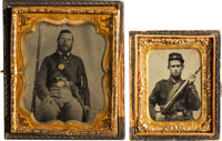 [Civil War]. Two Tintypes of Unidentified Soldiers with Rifles