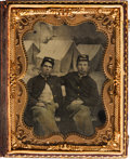 Photography:Tintypes, [Civil War]. Quarter Plate Tintype of Two Union Pards....