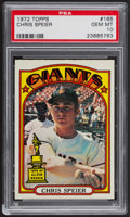 Baseball Cards:Singles (1970-Now), 1972 Topps Chris Speier #165 PSA Gem MT 10. ...