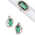 Estate Jewelry:Suites, Green Tourmaline, Diamond, White Gold Jewelry Suite. ... (Total: 2Items)