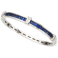 Estate Jewelry:Bracelets, Sapphire, Diamond, White Gold Bracelet, De Hago. ...