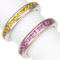 Estate Jewelry:Rings, Multi-Color Sapphire, White Gold Eternity Bands, Mondera. ...(Total: 2 Items)