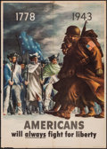 "Movie Posters:War, World War II Propaganda (U.S. Government Printing Office, 1943).OWI Poster No. 29 (28.5"" X 39.75""). ""Americans Will Always ..."