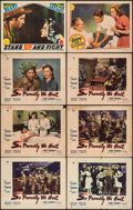 """Movie Posters:War, So Proudly We Hail & Others Lot (Paramount, 1943). Lobby Cards(8) (11"""" X 14""""). War.. ... (Total: 8 Items)"""