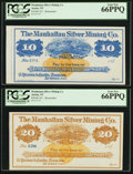 Obsoletes By State:Nevada, Austin, NV- Manhattan Silver Mining Co. $10 and $20 187_ Remainders. ... (Total: 2 notes)