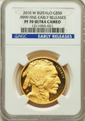 Modern Bullion Coins, 2010-W $50 One-Ounce Gold Buffalo, Early Releases, PR70 Deep Mirror Prooflike NGC....