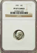 Proof Roosevelt Dimes, 1951 10C PR67 Cameo NGC. NGC Census: (183/101). PCGS Population:(163/34). CDN: $60 Whsle. Bid for problem-free NGC/PCGS PR...