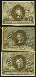 Fractional Currency:Second Issue, Fr. 1232; 1244; 1283 5¢; 10¢; 25¢ Second Issue Very Fine or Better.. ... (Total: 3 notes)