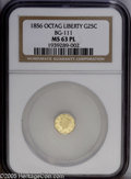 California Fractional Gold: , 1856 25C BG-111 MS63 NGC....