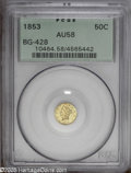 California Fractional Gold: , 1853 50C Liberty Round 50 Cents, BG-428, R.3, AU58 PCGS. PCGSPopulation: (55/137). ...
