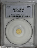California Fractional Gold: , 1880 25C Indian Octagonal 25 Cents, BG-799Y, High R.4, MS62 PCGS.PCGS Population: (16/39). ...