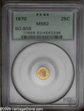 California Fractional Gold: , 1870 25C Liberty Round 25 Cents, BG-808, R.3, MS62 PCGS. PCGSPopulation: (19/143). ...
