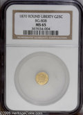 California Fractional Gold: , 1870 25C Liberty Round 25 Cents, BG-808, R.3, MS65 NGC. PCGSPopulation: (41/11). ...