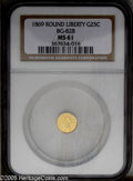 California Fractional Gold: , 1869 25C Liberty Round 25 Cents, BG-828, High R.4, MS61 NGC. PCGSPopulation: (7/30). ...