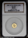 California Fractional Gold: , 1880 50C Indian Octagonal 50 Cents, BG-954, Low R.4, MS62 NGC. PCGSPopulation: (19/68). ...