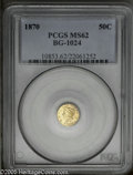 California Fractional Gold: , 1870 50C Liberty Round 50 Cents, BG-1024, Low R.4, MS62 PCGS. PCGSPopulation: (35/20). ...