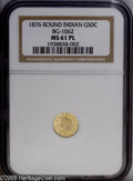 California Fractional Gold: , 1876 50C BG-1062 MS61 Prooflike NGC. ...