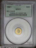 California Fractional Gold: , 1881 50C Indian Round 50 Cents, BG-1069, High R.4, MS61 PCGS. PCGSPopulation: (3/40). ...