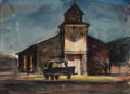 Fine Art - Work on Paper:Watercolor, Attributed to Peter Hurd (American, 1904-1984). CountryChapel. Watercolor and ink on paper. 5-1/2 x 8 inches (14.0 x20...