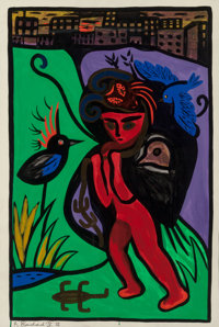 Remy Blanchard (French, 1958-1993) Untitled (Figure with Bird), 1986 Acrylic on paper 40 x 26 inc